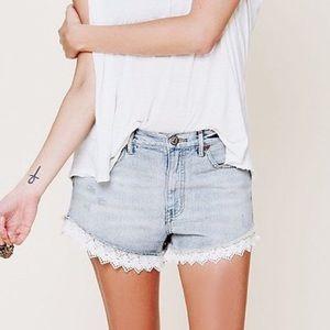 Free People Lace Trim denim shorts